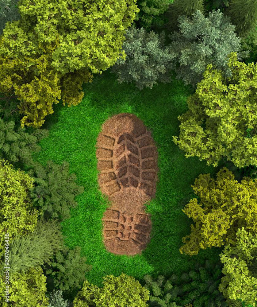 Fototapeta  concept of ecology. Imprint of a human footprint in nature. 3d illustration