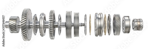 Mechanism. Gears on the shaft isolated on a white background. 3d illustration
