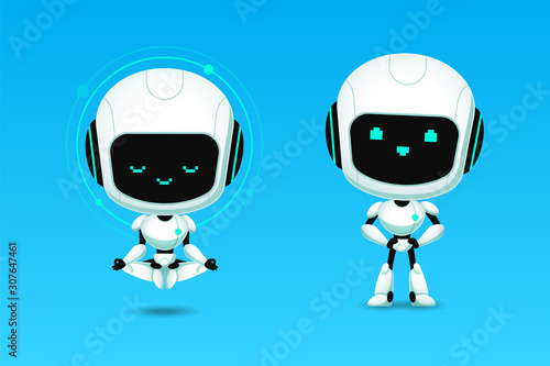 Photo Set of cute robot ai character meditation and confidence action