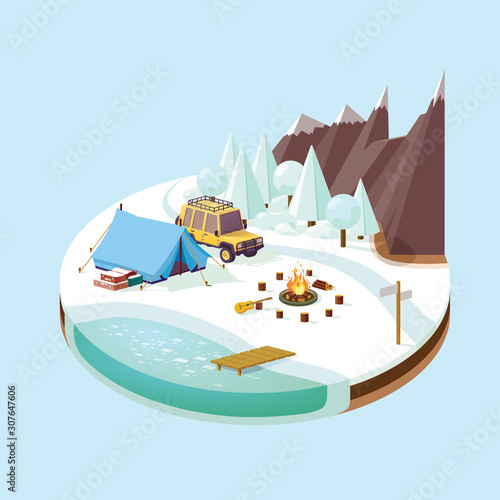 Valokuva winter tourism in the mountains near the river in the forest isometric, by car t