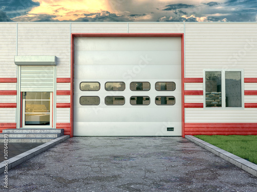 Fotomural Hangar exterior with sectional gate. 3d illustration