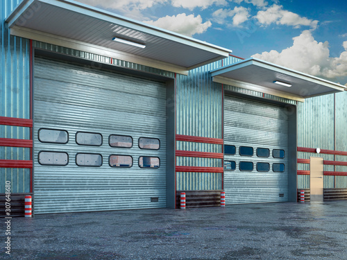 Pinturas sobre lienzo  Hangar exterior with sectional gate. 3d illustration
