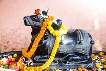 Worship Of The Sacred Bull Nandi. The Indian Tourism.
