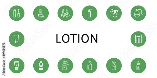 Photo Set of lotion icons such as Mascara, Incense, Essential oil, Gel, Perfume, Sunsc