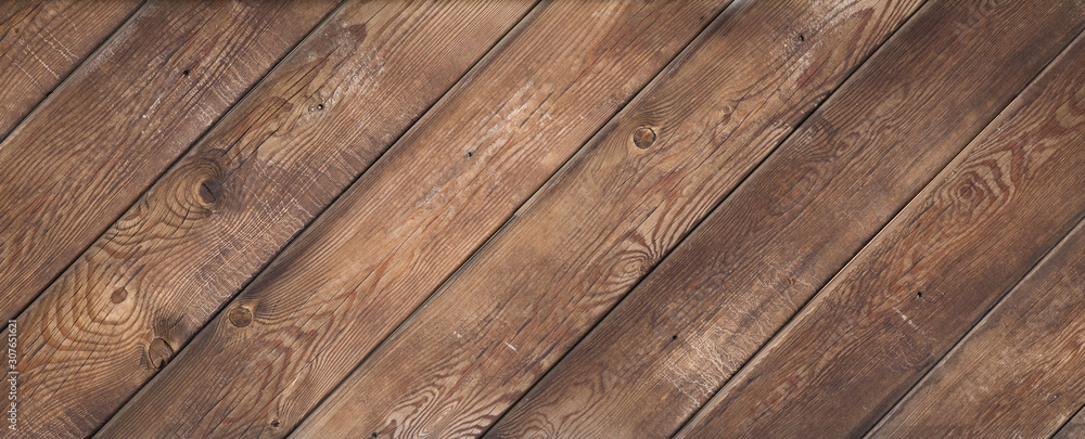 Fototapeta old brown weathered wooden floor diagonally