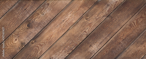 Tableau sur Toile old brown weathered wooden floor diagonally