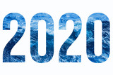 2020 isolated numbers with blue sea texture.