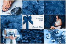 Creative Collage In Blue Color...