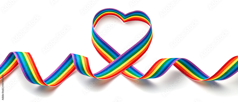 Fototapeta LGBT rainbow ribbon in the shape of heart. Pride tape symbol. Isolated on a white background