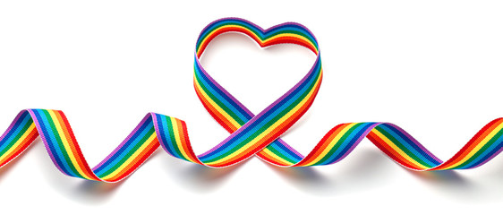 LGBT rainbow ribbon in the shape of heart. Pride tape symbol. Isolated on a white background