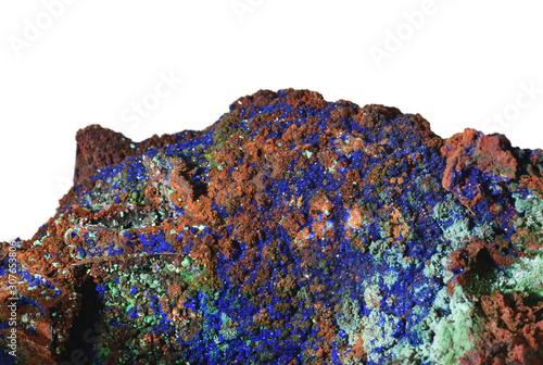 Beautiful gem stone Azurite and Malachite on a rock, close-up blue Wallpaper Mural
