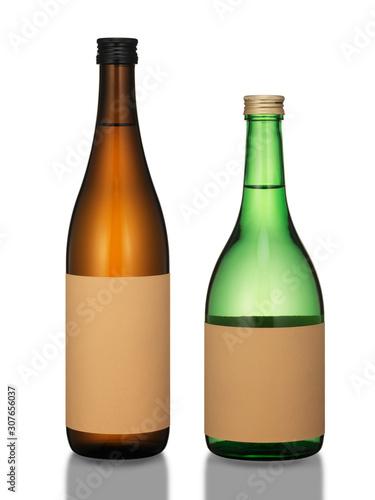Photo sake bottles isolated on white background