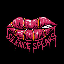 Lips Vector Illustration. Sewn Lips With Blood. Silence Speaks Quotes. Lips Design For Tshirt, Stickers, Web Landing Page, Stickers, Or Poster