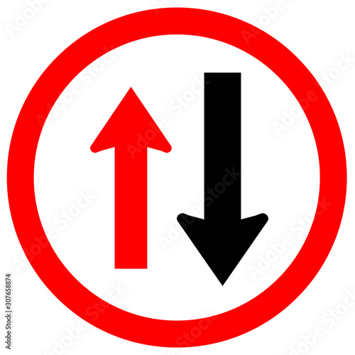 Valokuvatapetti Two Way Traffic Sign,Approaching Cars Have Right Of Way Symbol,Vector Illustration, Isolate On White Background, Label