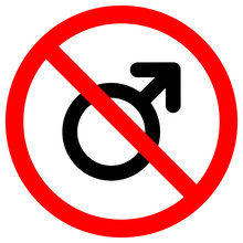 No Male Symbol, Vector Illustr...