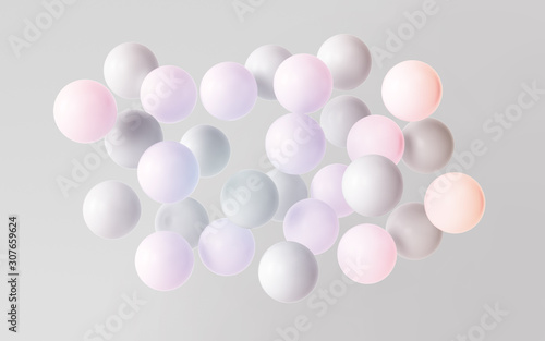 minimalist abstract background with colorful  balls Billede på lærred