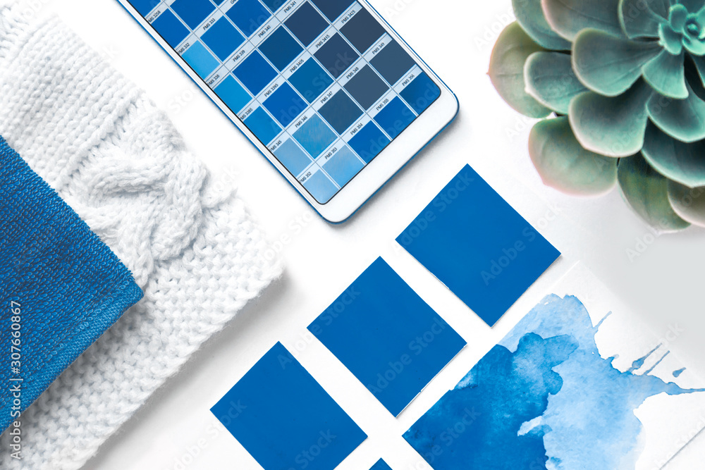 Color blue Palette Guide in mobile phone on White Background. flatlay. color 2020 classic blue