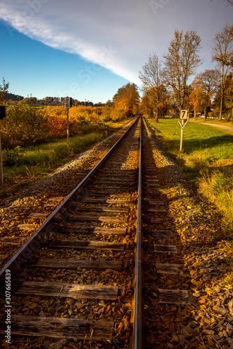 Obraz Schienen die in the Horizont führen in der Herbstsonne - fototapety do salonu
