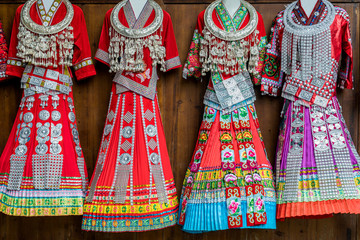 Features of Miao ethnic costumes in Guizhou, China