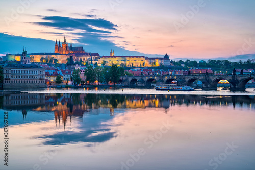 A view of Prague Castle and the Charles Bridge across the Vltava River in Prague, Czech Republic Wallpaper Mural