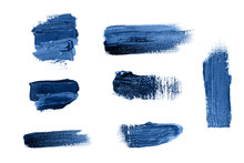 Set Of Blue Strokes Of Oil Paint On White Canvas
