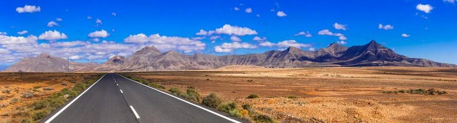 Impressive landscape and deserted roads of volcanic Fuerteventura , Canary islands
