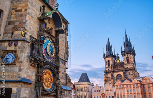 Fototapeta The Prague Astronomical Clock located at the Old Town Hall and the Church of Our Lady before Tyn in Prague, Czech Republic