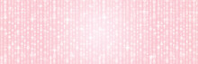 Pink Banner For Holidays Or Disco Background. Romantic Background With Circles Bokeh. Christmas And Happy New Year Greeting Banner. Horizontal Holiday Background, Headers, Posters, Cards, Website, Ill