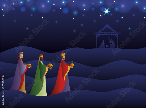 Canvastavla Happy epiphany day vector design