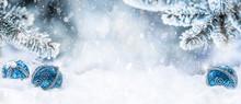 Blue Christmas Balls On Snow W...