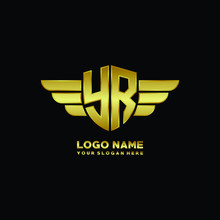 Initial Letter YR Shield Logo With Wing Vector Illustration, Gold Color