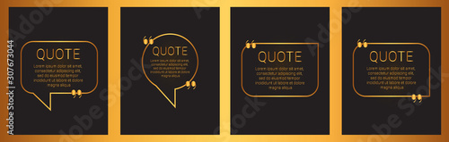Obraz Set of quote box isolated on black background. Templates speech bubbles with space for text in a flat style. Golden quote blocks for comments, dialog - fototapety do salonu