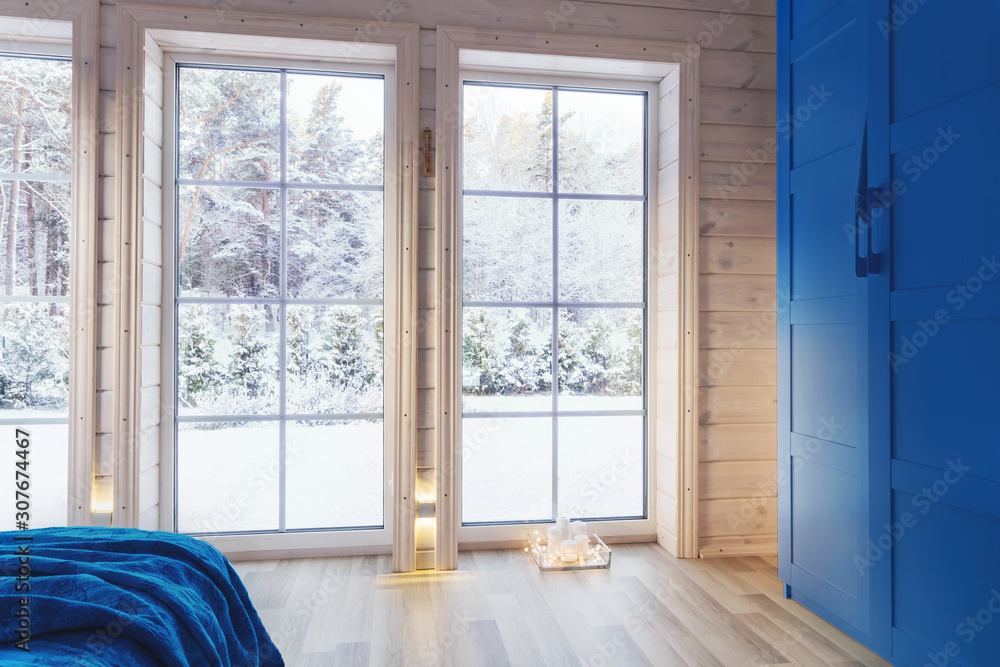 Fototapeta Bright interior, room in wooden house with large window. Scandinavian style. color of the year 2020 classic blue