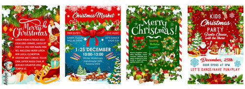 Kids Christmas party invitation poster template for New Year winter holiday December party celebration. Vector design of Santa gifts bag, Christmas tree and golden decoration with snowflakes - 307677693