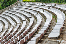 Empty White Plastic Chairs At ...