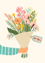 Illustration Bouquet Of Flower...