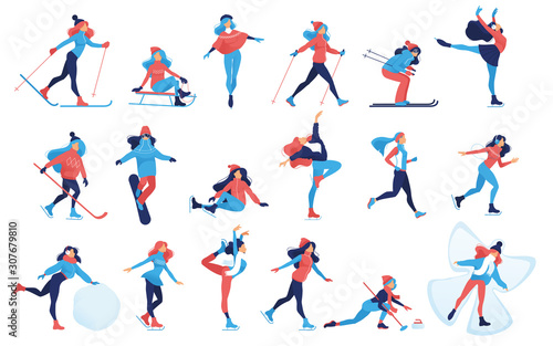Leinwand Poster Set of Winter sport and recreation illustrations