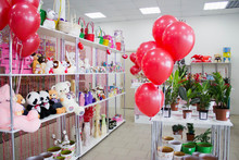Store Shelves With Gifts, Ball...
