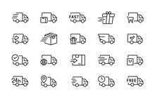 Set Of Delivery Truck Icons Ed...
