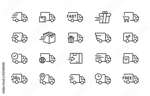 set of delivery truck icons editable vector stroke 96x96 pixel perfect