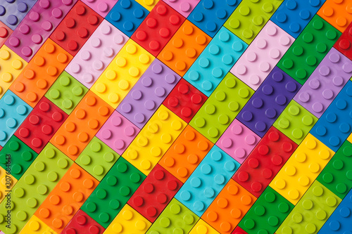 Colorful background made of plastic cubes Canvas Print