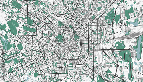 Fotomural Detailed map of Milan, Italy