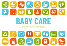Baby Banner With Flat Icons. V...