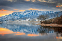 Winter Sunset Reflection With ...