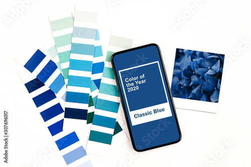 Cuadros en Lienzo  Smartphone with color of the year 2020 - Classic Blue and fashion colour swatches
