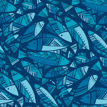 Blue Mosaic Nord Fish Seamless...