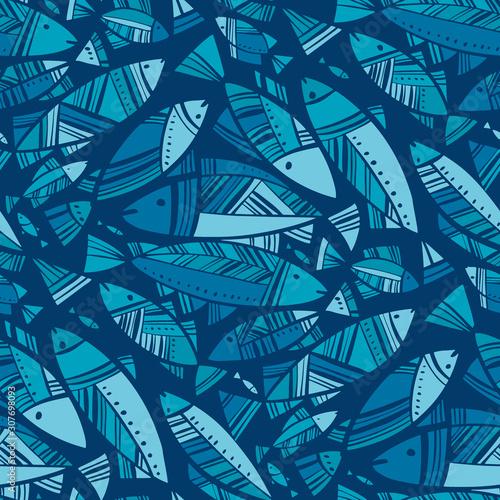 Tapeta niebieska  blue-mosaic-nord-fish-seamless-pattern