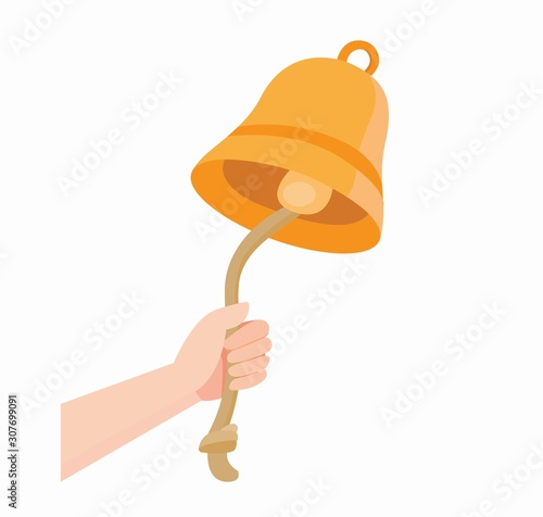 Cuadros en Lienzo hand ringing bell with rope icon in flat illustration vector