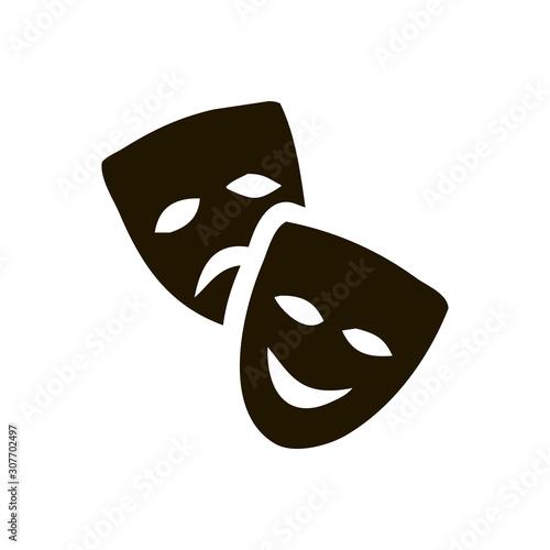 Fotografie, Obraz  Original vector illustration of Theatre Masks on a white background