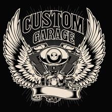 Motorcycle Club Custom Bike Shop Logo Vintage Design Vecto10